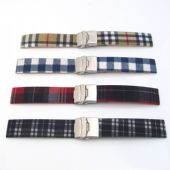 Watch Band Strap Silicone Rubber TARTAN FABRIC TOP Deployment Clasp
